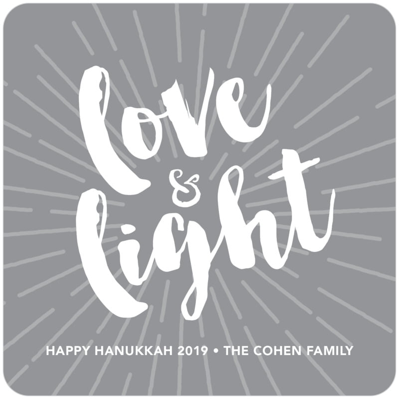 square holiday coasters - charcoal - love & light (set of 12)