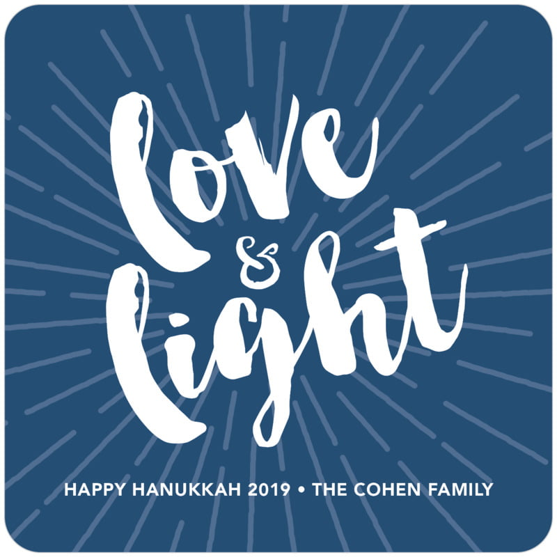 square holiday coasters - navy - love & light (set of 12)