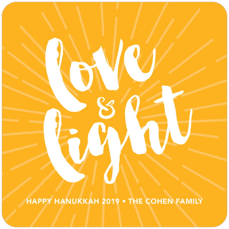 square holiday coasters - orange - love & light (set of 12)