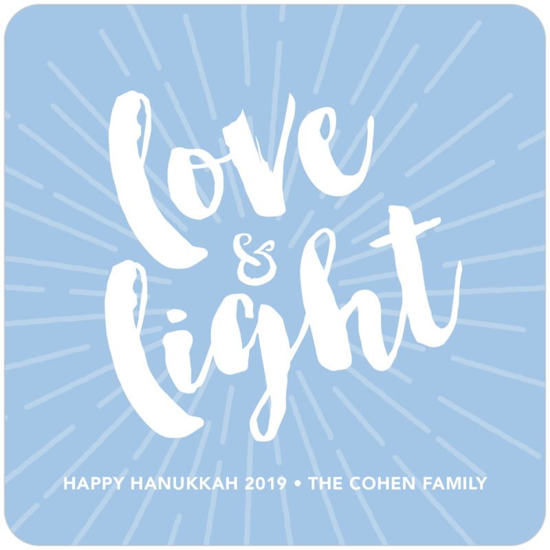 square holiday coasters - blue - love & light (set of 12)
