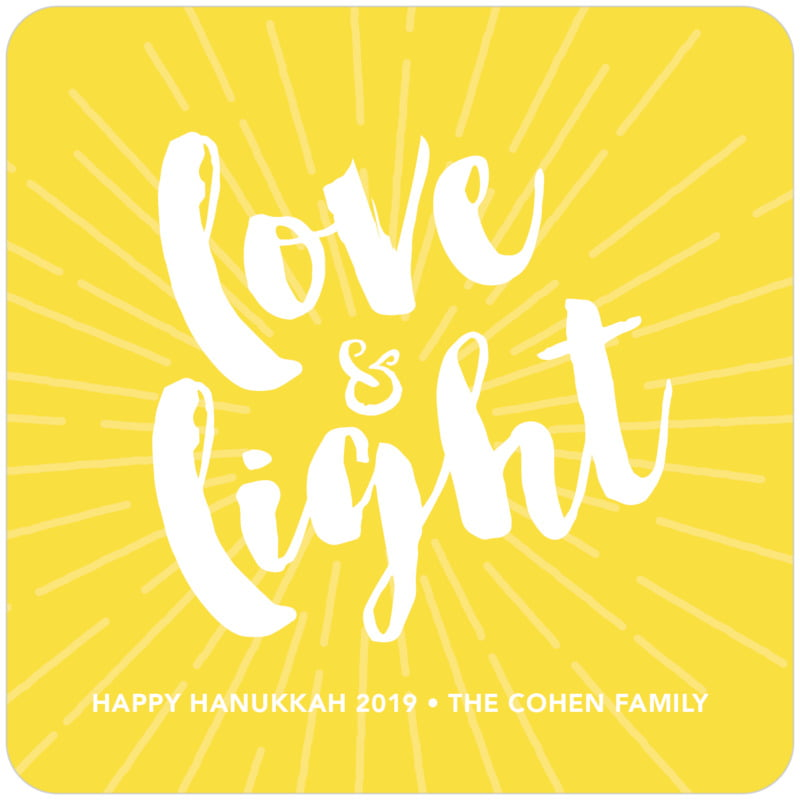 square holiday coasters - lemon - love & light (set of 12)