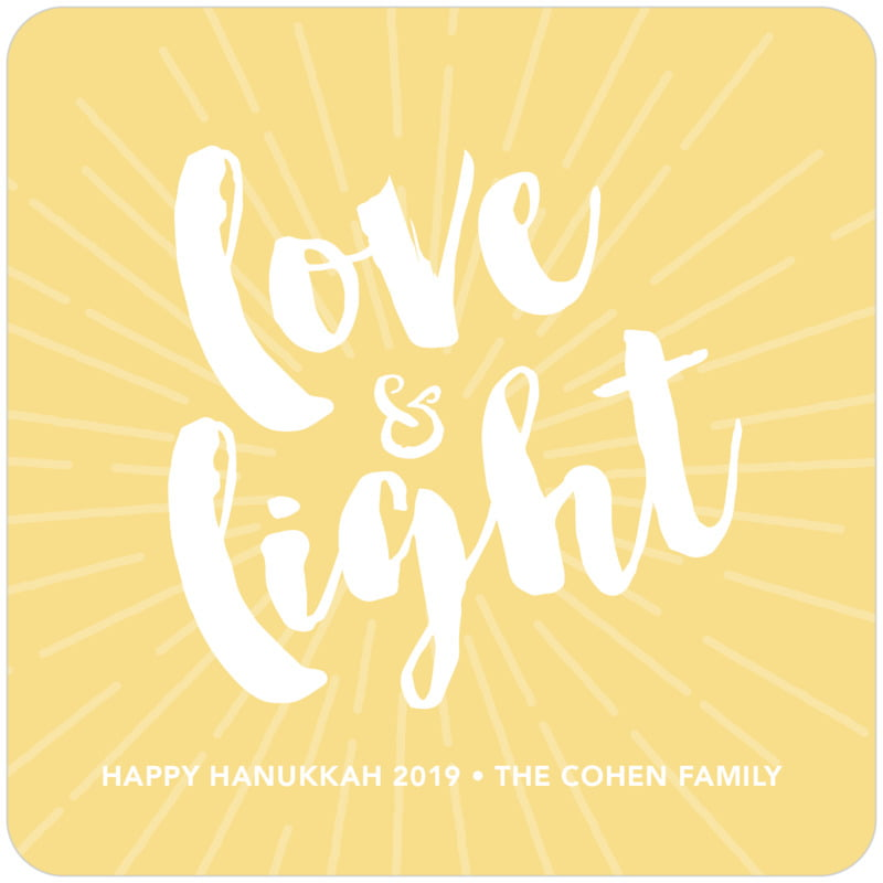 square holiday coasters - sunburst - love & light (set of 12)
