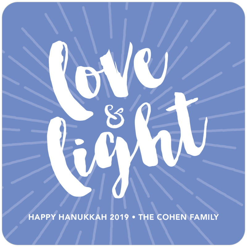square holiday coasters - periwinkle - love & light (set of 12)