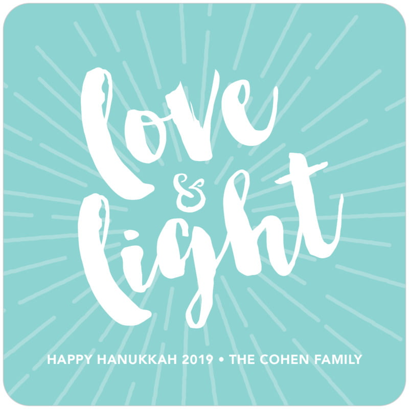 square holiday coasters - aruba - love & light (set of 12)
