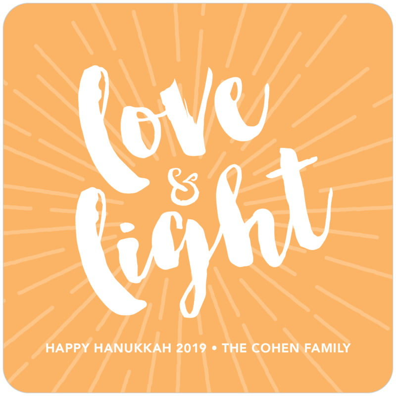 square holiday coasters - tangerine - love & light (set of 12)