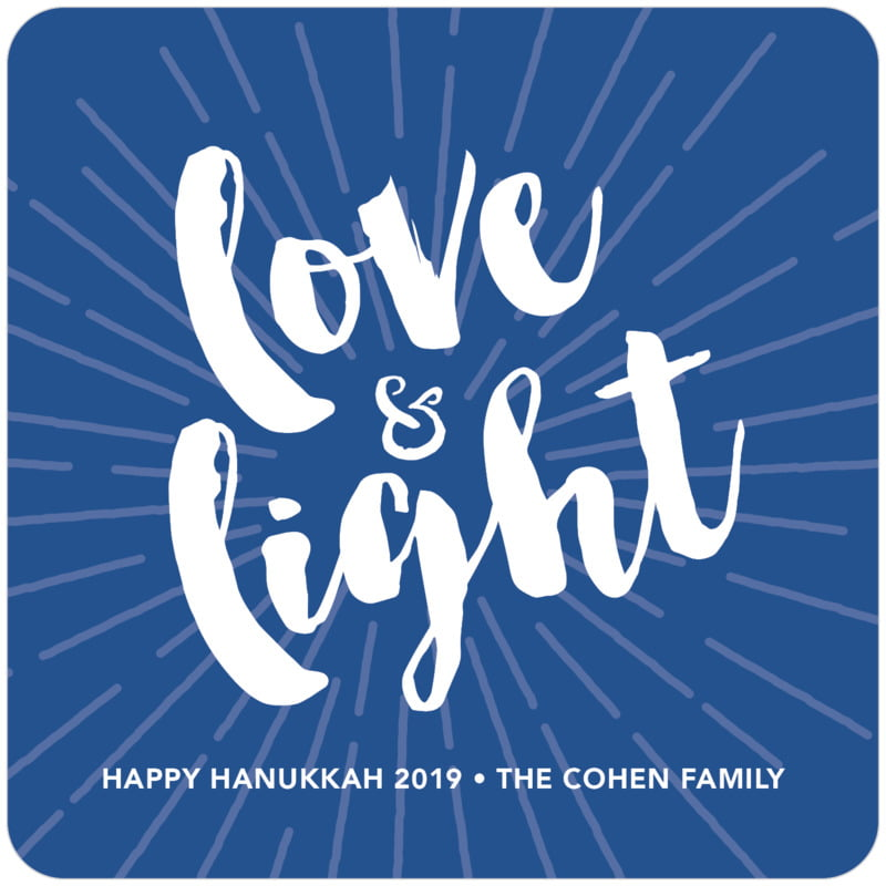 square holiday coasters - deep blue - love & light (set of 12)