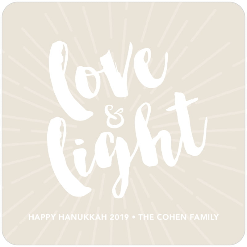 square holiday coasters - champagne - love & light (set of 12)