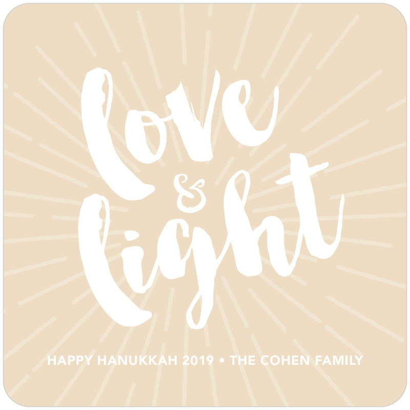 square holiday coasters - cappuccino - love & light (set of 12)