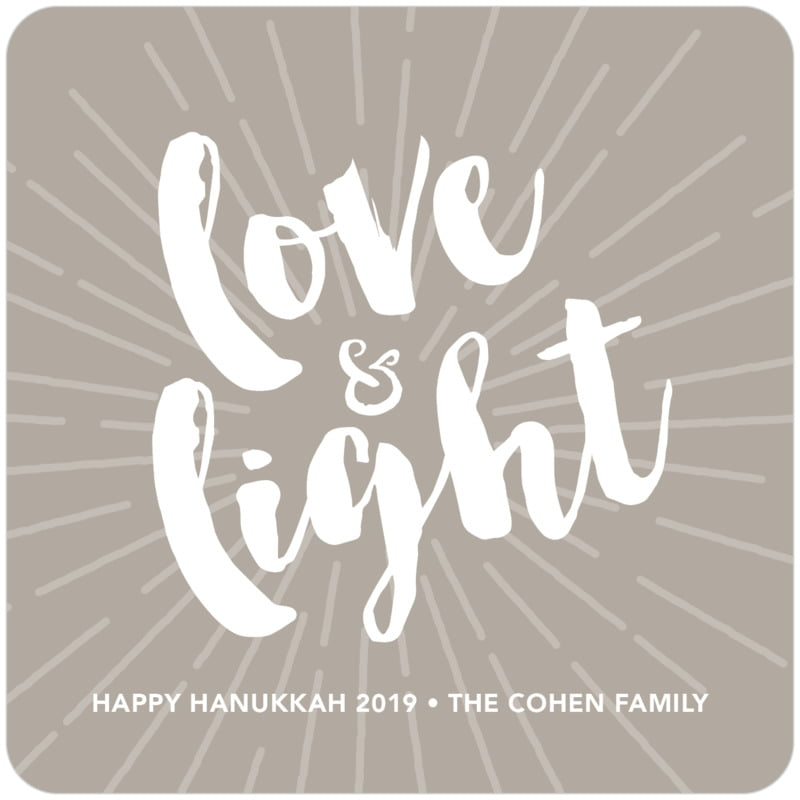 square holiday coasters - warm grey - love & light (set of 12)