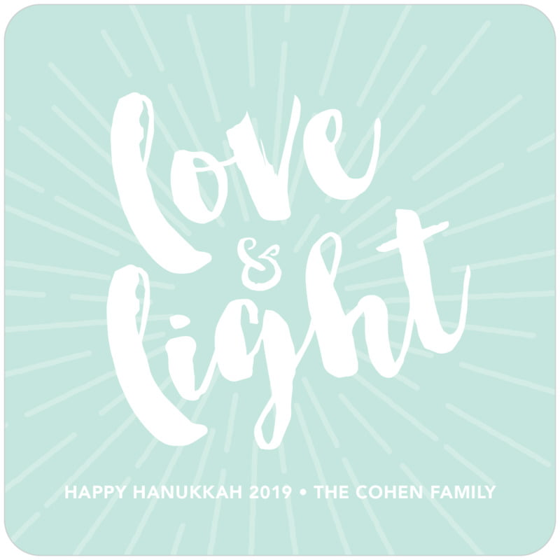 square holiday coasters - sea glass - love & light (set of 12)