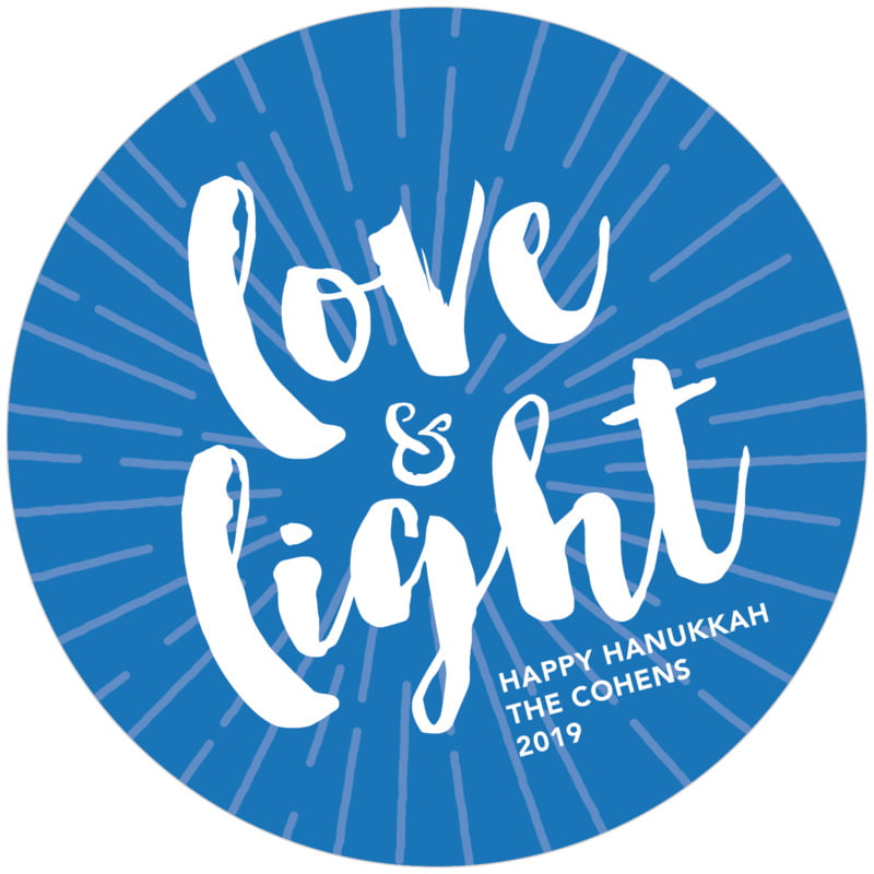 round holiday coasters - cobalt - love & light (set of 12)