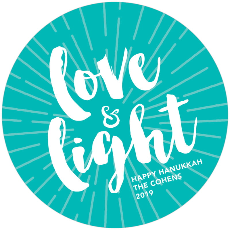 round holiday coasters - turquoise - love & light (set of 12)