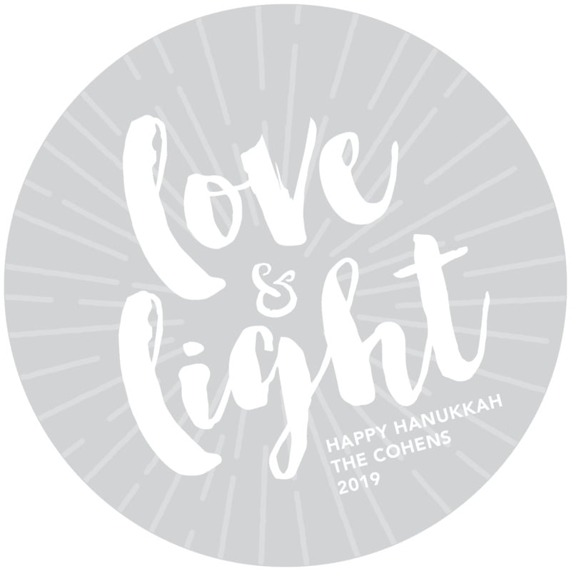 round holiday coasters - light grey - love & light (set of 12)