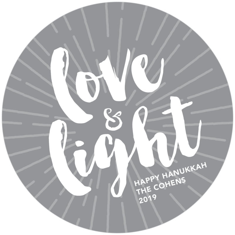 round holiday coasters - charcoal - love & light (set of 12)