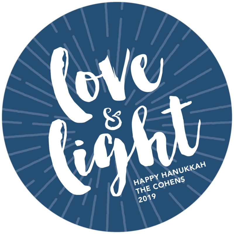 round holiday coasters - navy - love & light (set of 12)