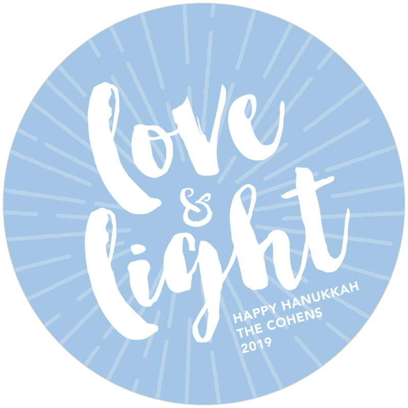 round holiday coasters - blue - love & light (set of 12)
