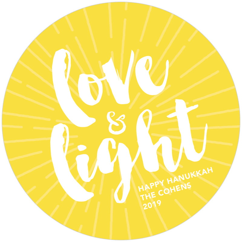 round holiday coasters - lemon - love & light (set of 12)