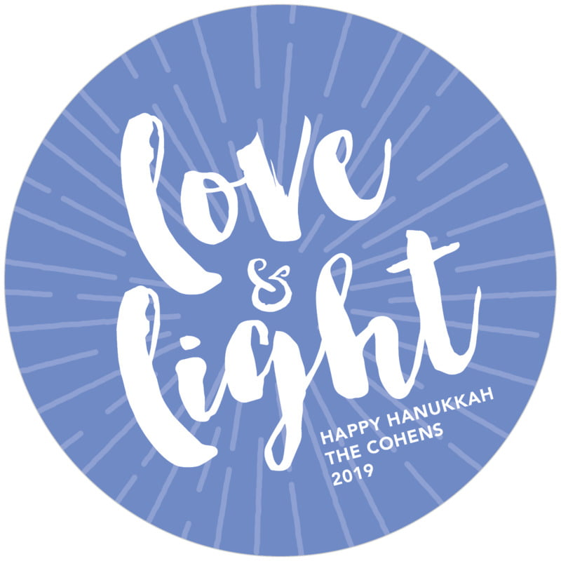 round holiday coasters - periwinkle - love & light (set of 12)
