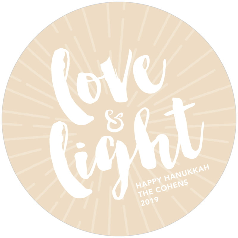 round holiday coasters - cappuccino - love & light (set of 12)