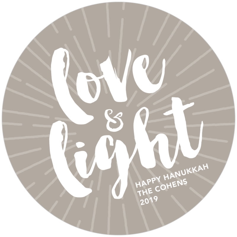round holiday coasters - warm grey - love & light (set of 12)