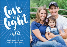 holiday cards - cobalt - love & light (set of 10)