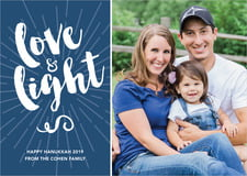 holiday cards - navy - love & light (set of 10)