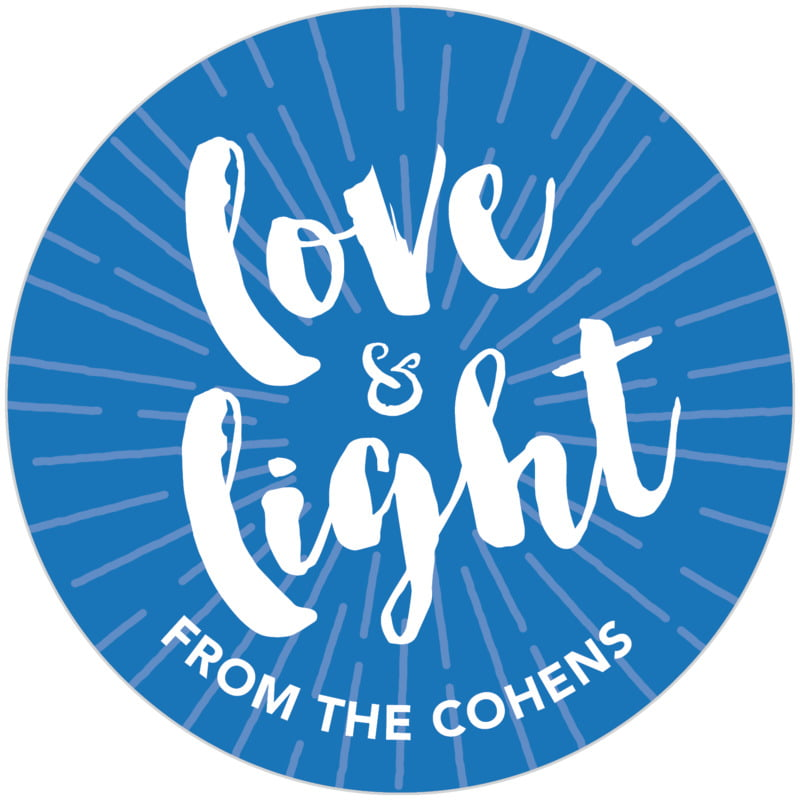 circle food/craft labels - cobalt - love & light (set of 20)