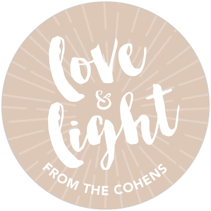 circle food/craft labels - mocha - love & light (set of 20)