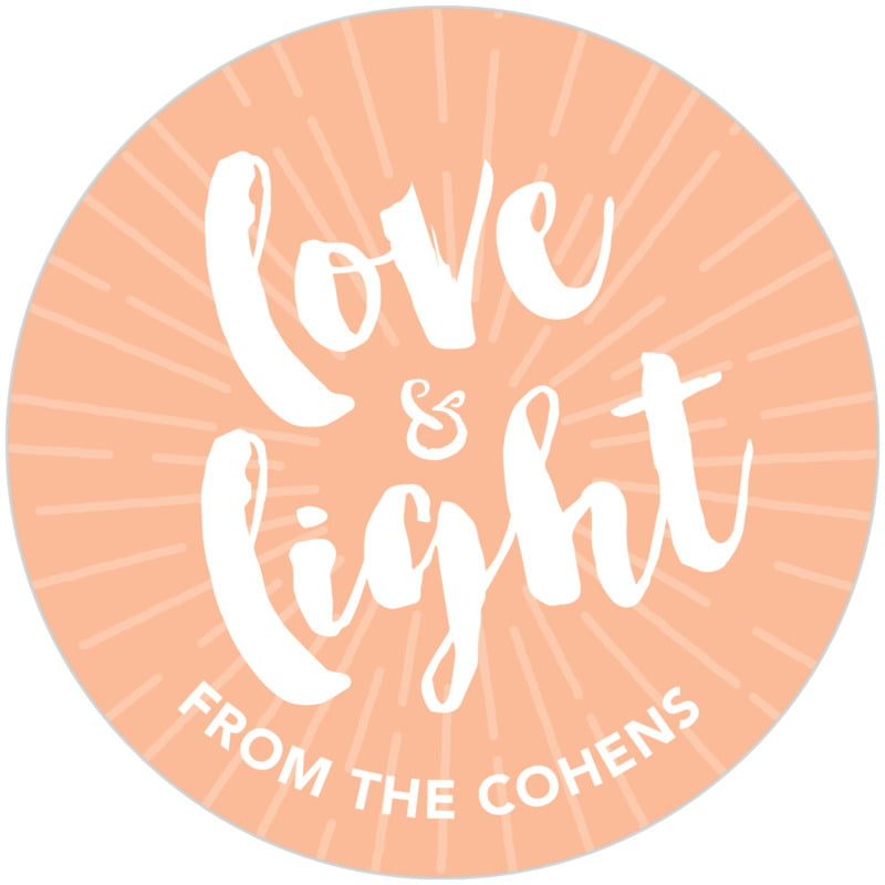 circle food/craft labels - peach - love & light (set of 20)