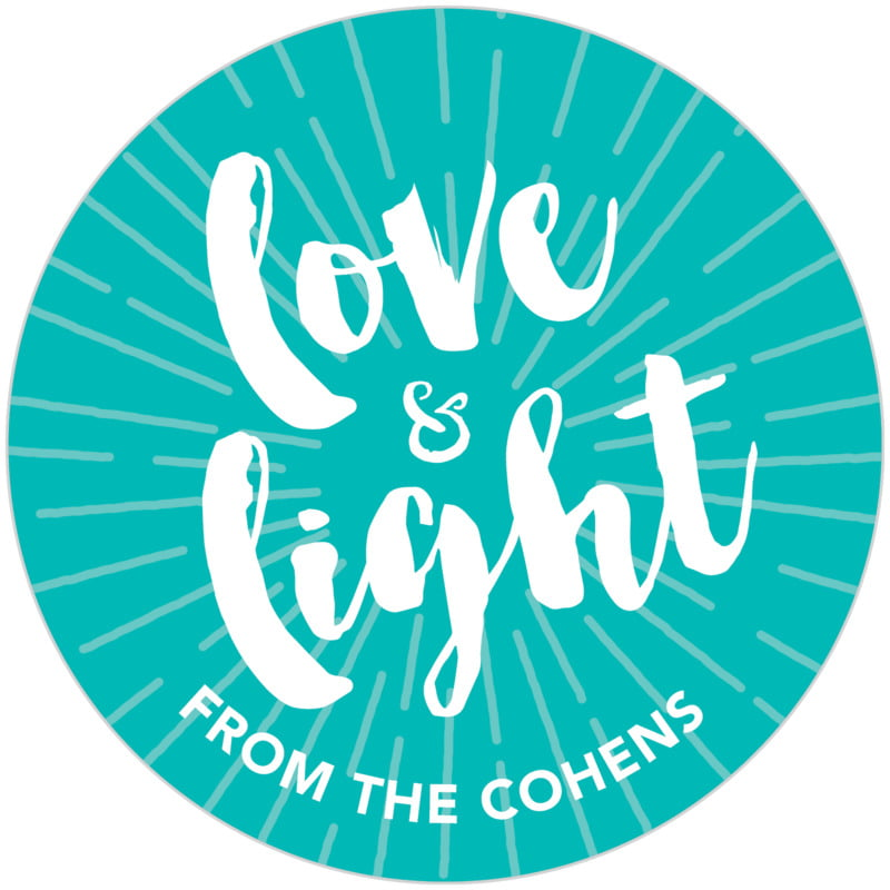 circle food/craft labels - turquoise - love & light (set of 20)