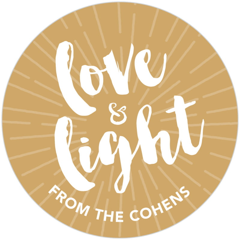 circle food/craft labels - deep gold - love & light (set of 20)