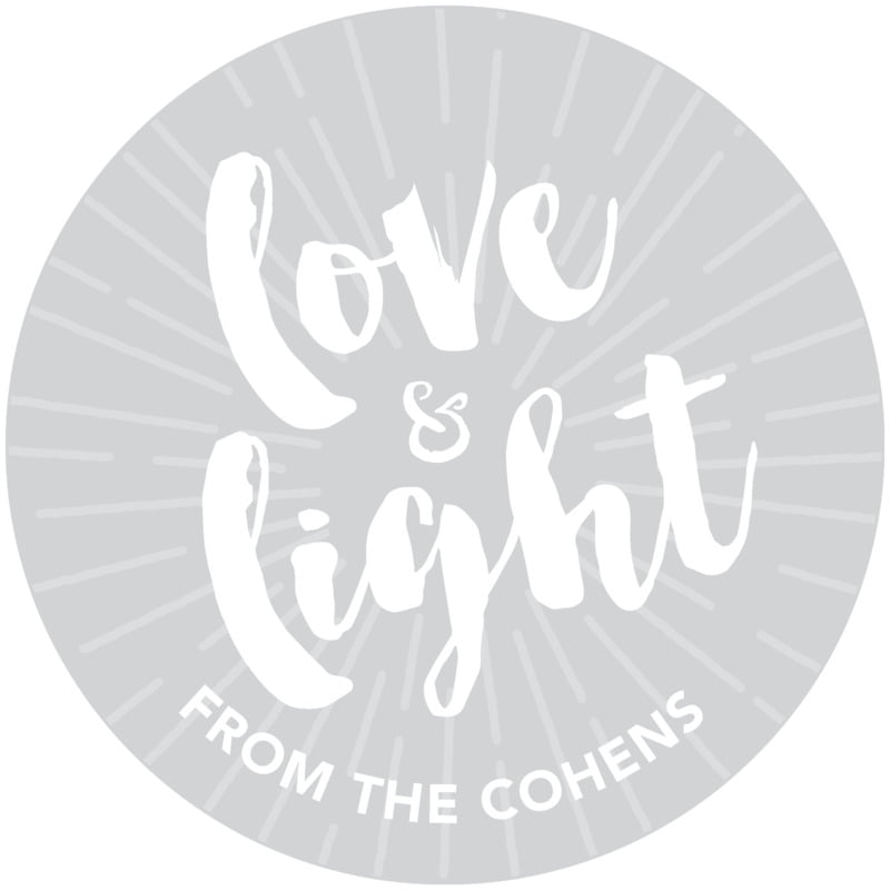 circle food/craft labels - light grey - love & light (set of 20)