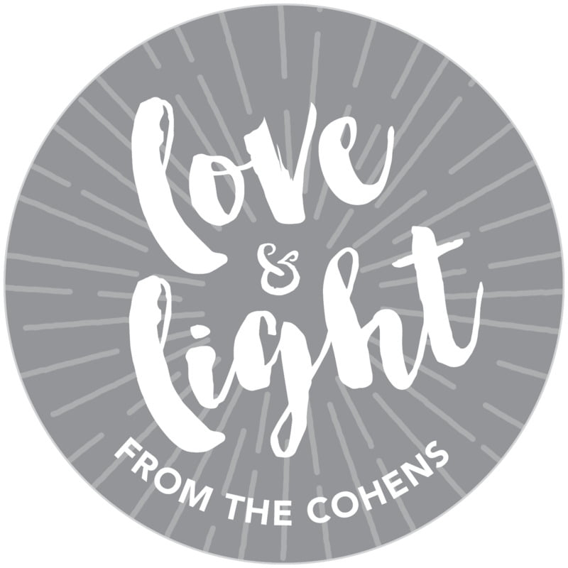 circle food/craft labels - charcoal - love & light (set of 20)