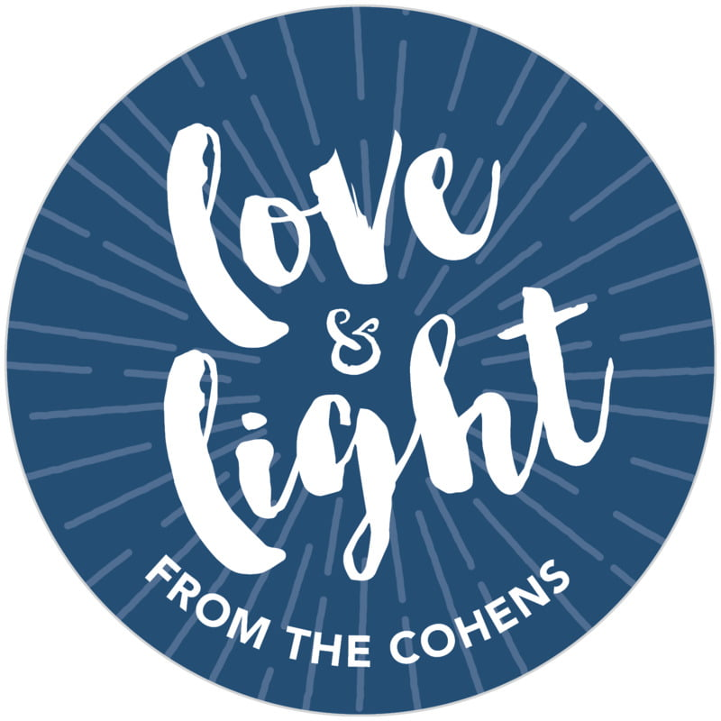 circle food/craft labels - navy - love & light (set of 20)