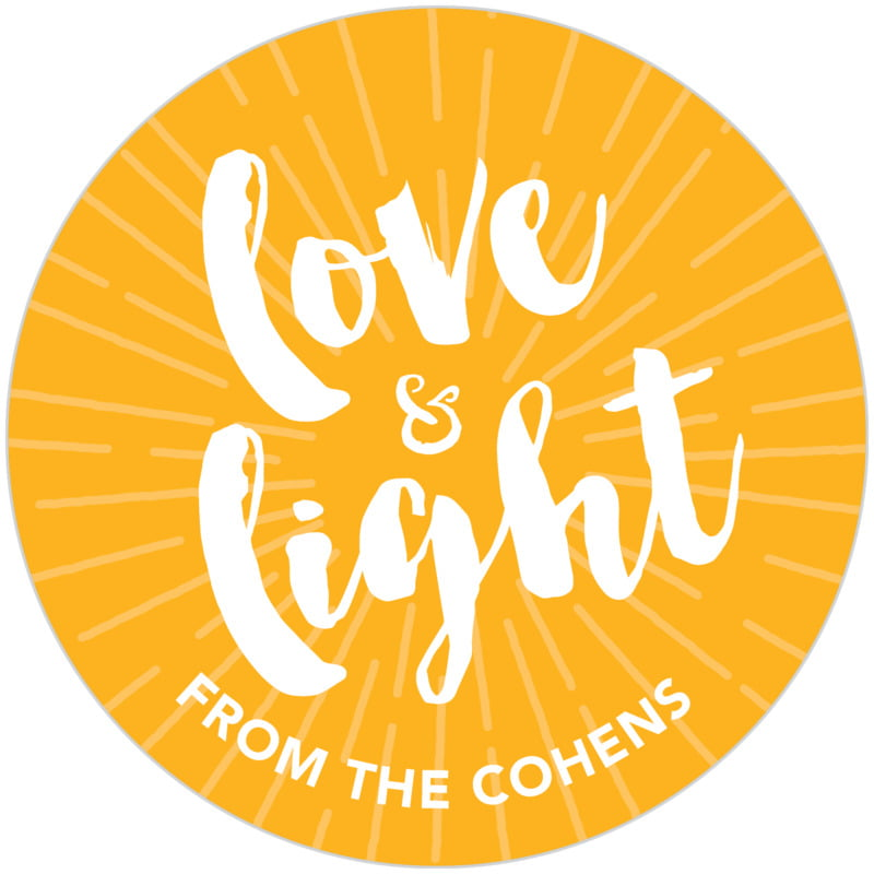 circle food/craft labels - orange - love & light (set of 20)