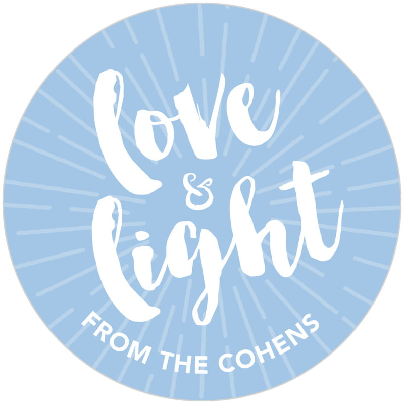 circle food/craft labels - blue - love & light (set of 20)
