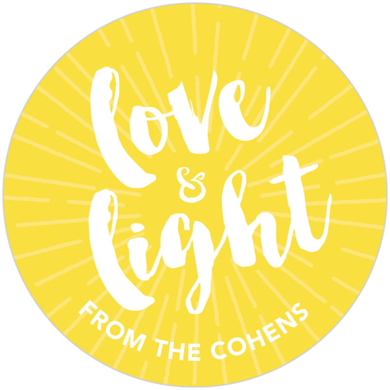 circle food/craft labels - lemon - love & light (set of 20)