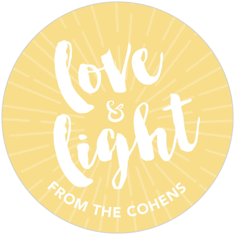 circle food/craft labels - sunburst - love & light (set of 20)