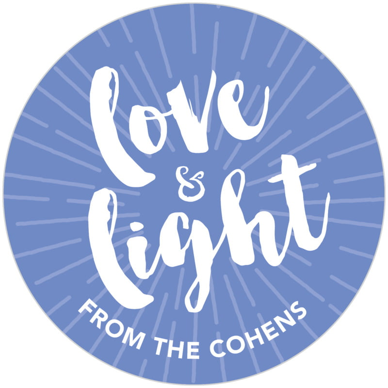 circle food/craft labels - periwinkle - love & light (set of 20)