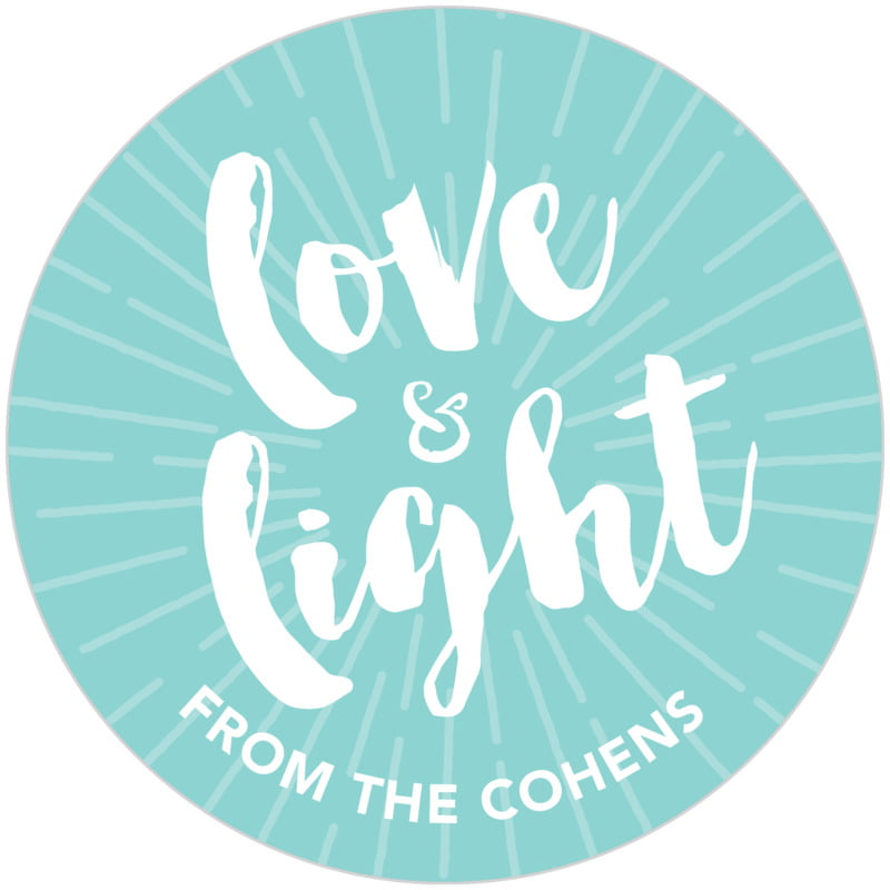 circle food/craft labels - aruba - love & light (set of 20)
