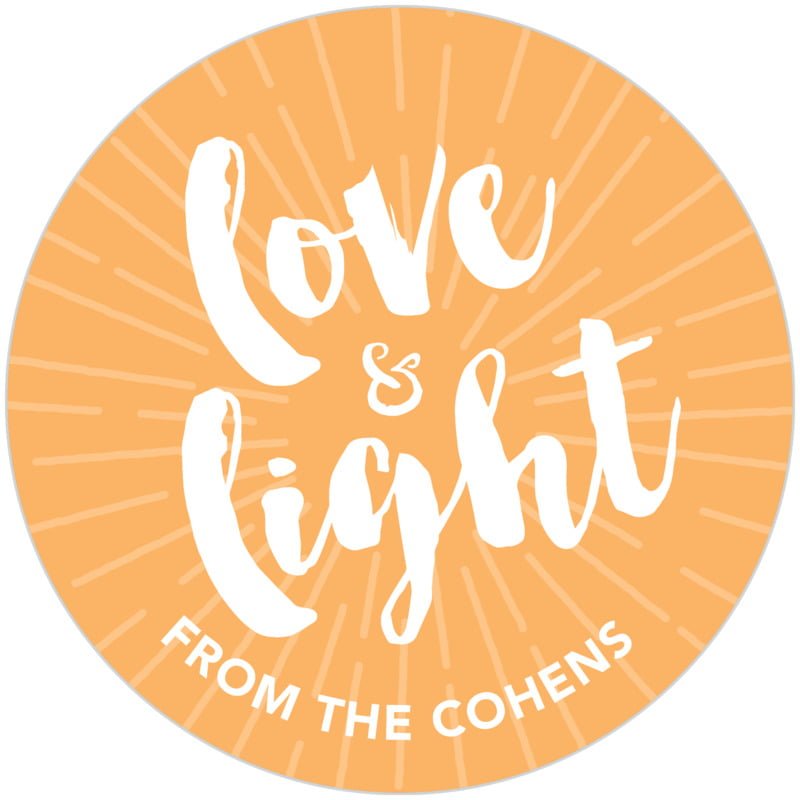 circle food/craft labels - tangerine - love & light (set of 20)