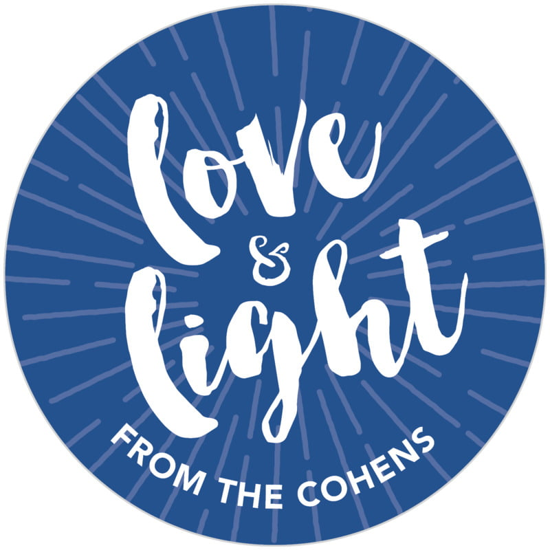 circle food/craft labels - deep blue - love & light (set of 20)