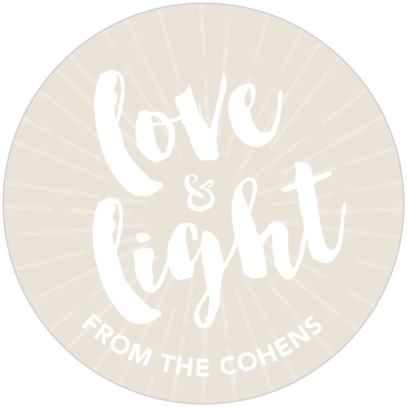 circle food/craft labels - champagne - love & light (set of 20)