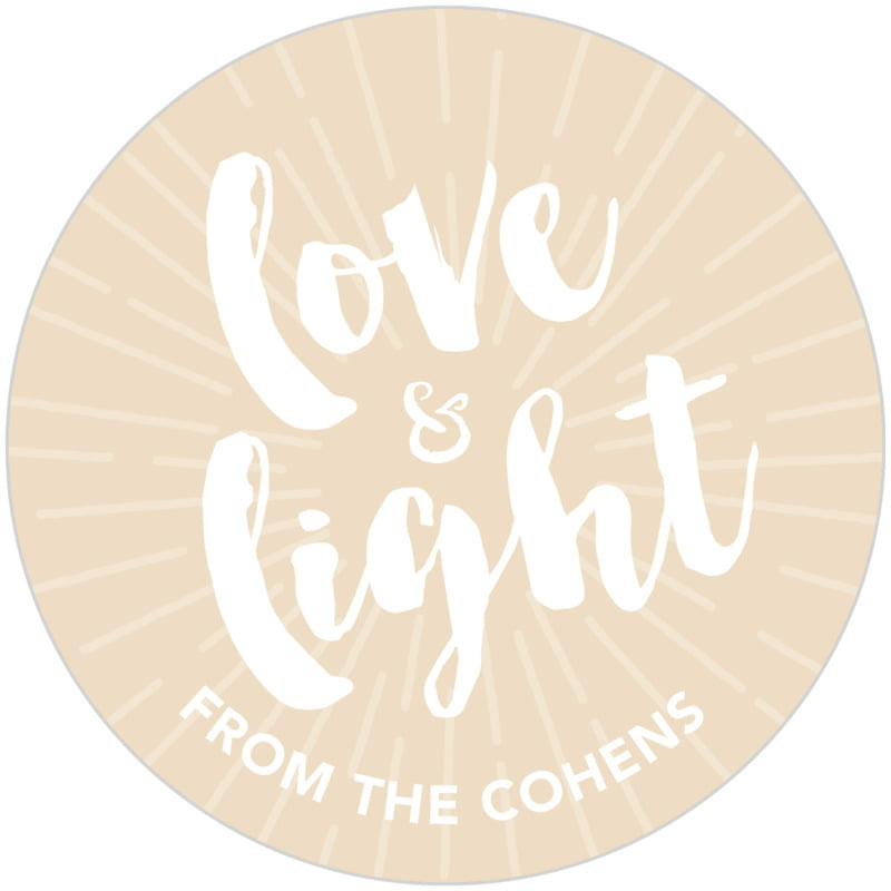 circle food/craft labels - cappuccino - love & light (set of 20)