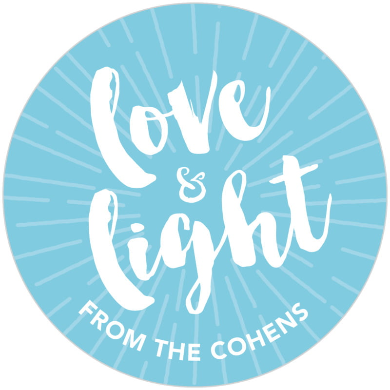 circle food/craft labels - sky - love & light (set of 20)