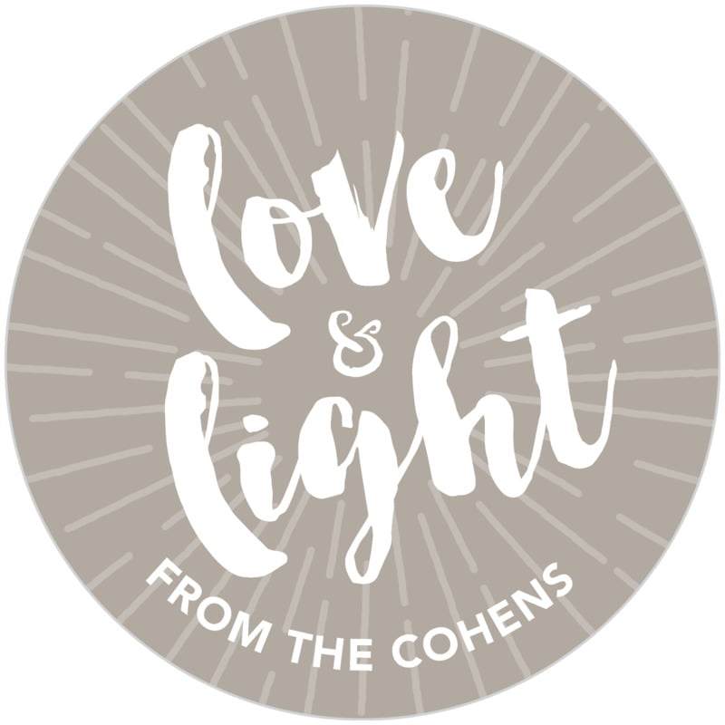 circle food/craft labels - warm grey - love & light (set of 20)