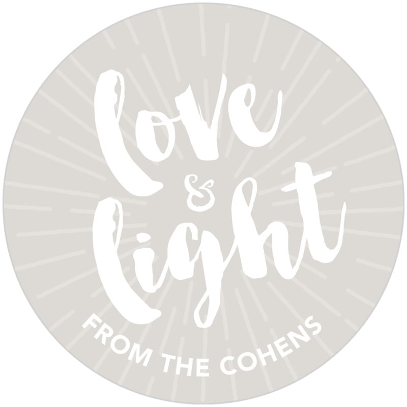 circle food/craft labels - stone - love & light (set of 20)