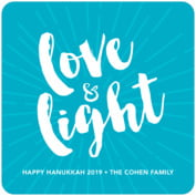 Love & Light Square Coaster In Dark Sky
