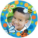 Lil' Bug Circle Photo Label In Blue