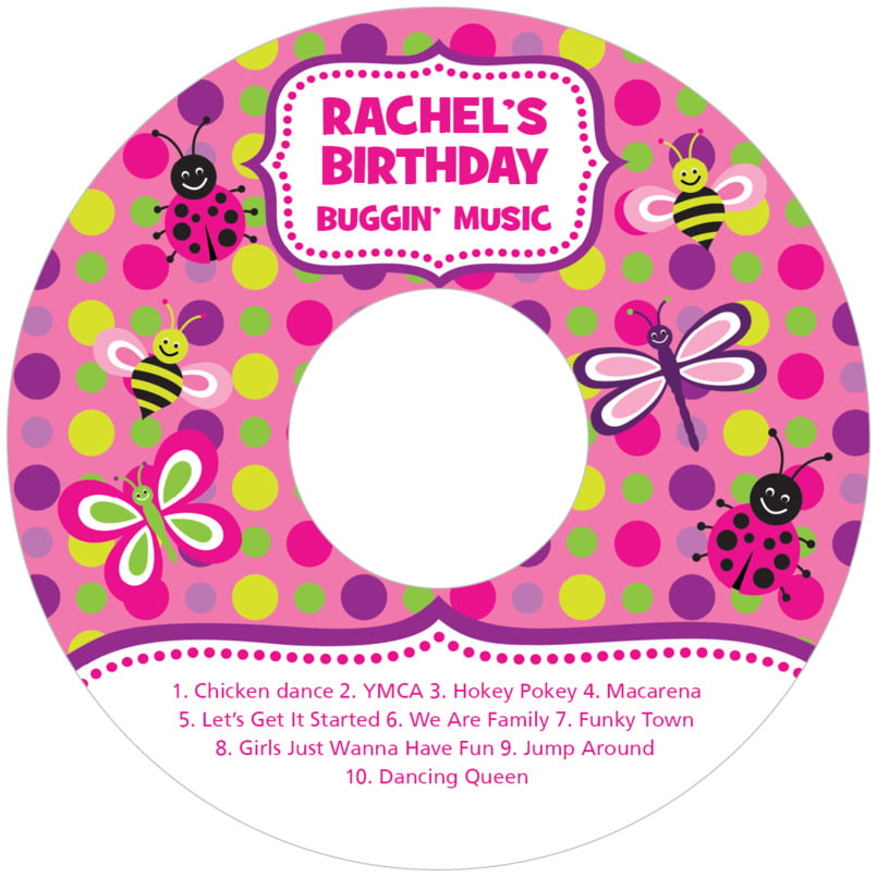 baby cd/dvd labels - bright pink - lil' bug (set of 12)